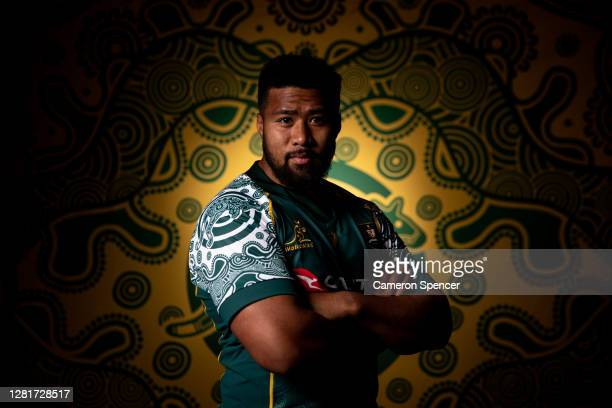 Folau Fainga'a of the Wallabies poses during the Australian Wallabies 2020 First Nations Jersey portrait session on October 22 2020 in the Hunter...
