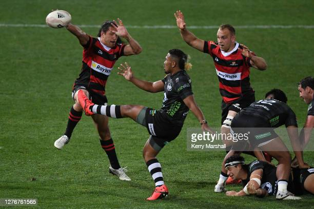 Folau Fakatava of Hawke's Bay kicks to clear during the round 3 Mitre 10 Cup match between Hawke's Bay and Canterbury at McLean Park on September 26,...