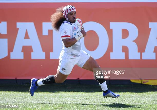 Folau Niua of the United States scores a try against New Zealand during the USA Sevens Rugby tournament at Sam Boyd Stadium on March 3 2019 in Las...