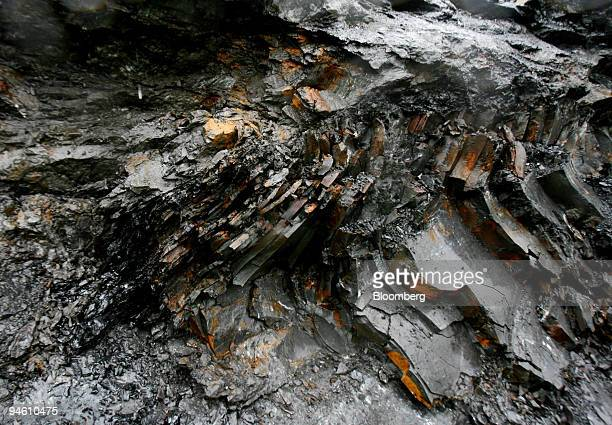 A fold of Anthracite coal awaits mining at Aberpergwm Colliery outside Glynneath village in Wales UK on Wednesday Sept 19 2007 Energybuild recently...