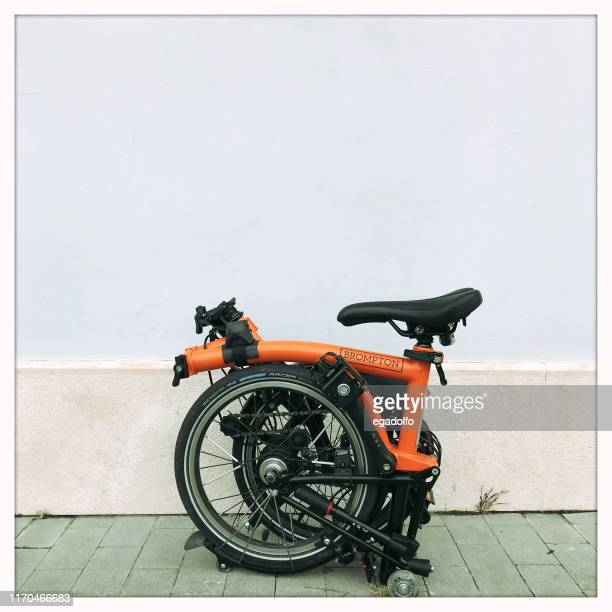 folded brompton - foldable stock pictures, royalty-free photos & images