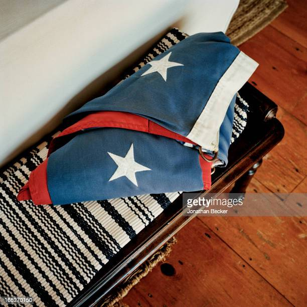 Folded flag is photographed for Town & Country Magazine on September 22-23, 2012 in Robert Kennedy Jr.'s home in Hyannis Port, Massachusetts....