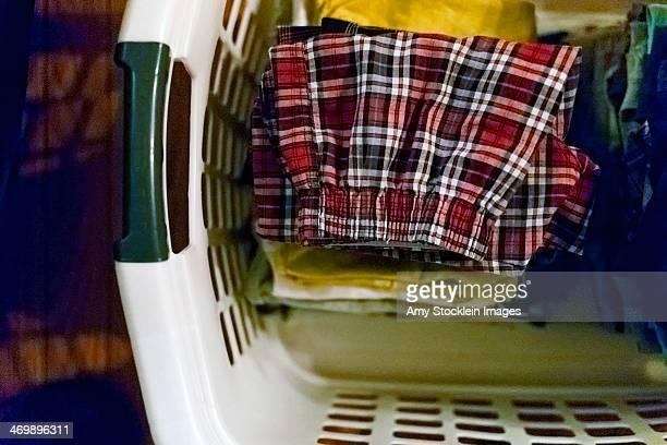 Folded laundry in basket