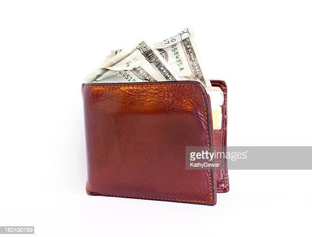 folded mens brown leather wallet with twenty dollar bills - kathy cash stock pictures, royalty-free photos & images