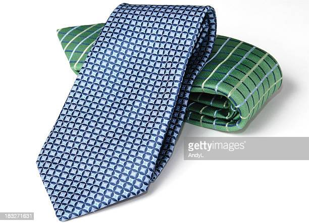 Folded Neckties on White