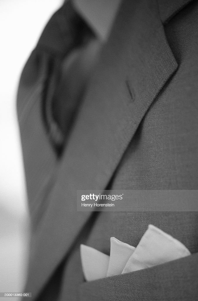 453ab5152305d Folded Pocket Handkerchief In Suit Breast Pocket Stock Photo - Getty ...