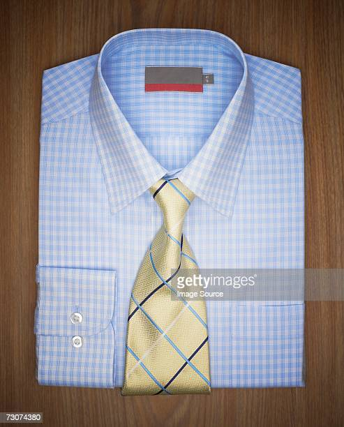 Folded shirt and tie