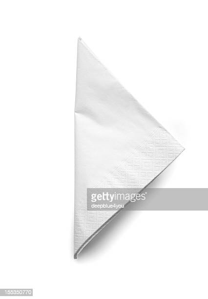 folded white cocktail napkin - isolated - folded stock photos and pictures