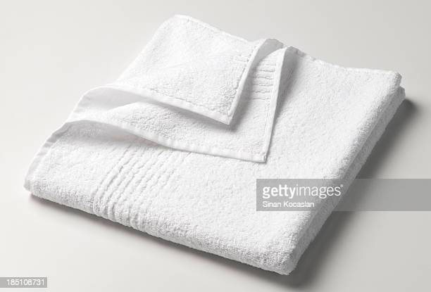 Folded white towel waiting to be used