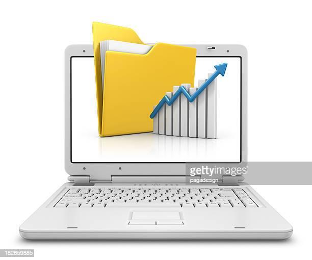 フォルダーとグラフにノートパソコン
