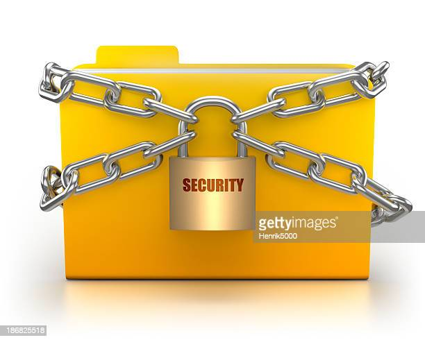 Folder in chains security concept - isolated with clipping path