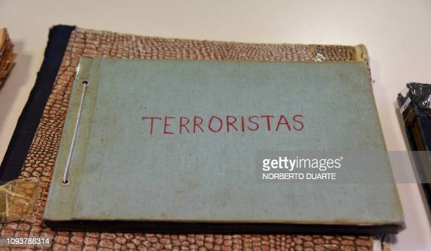 A folder reading 'Terrorists' on its cover that forms part of the 'Archives of Terror' is pictured at the Documentation and Archive Center for Human...
