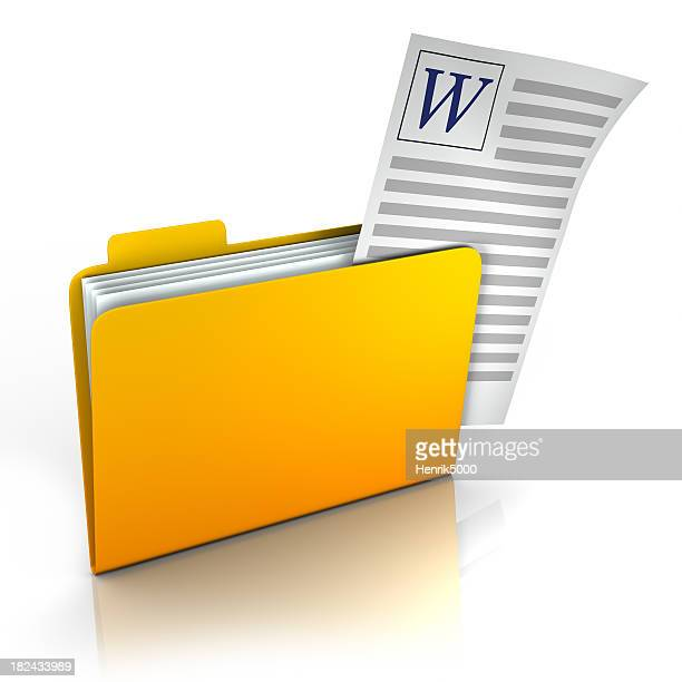 Folder with document sticking out - isolated w/ clipping path