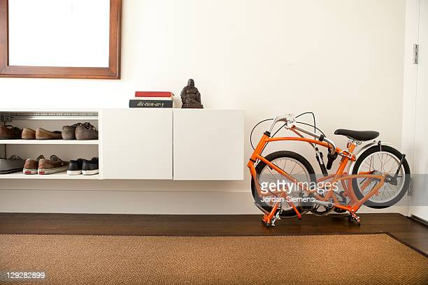Folding bike in a small apartment.