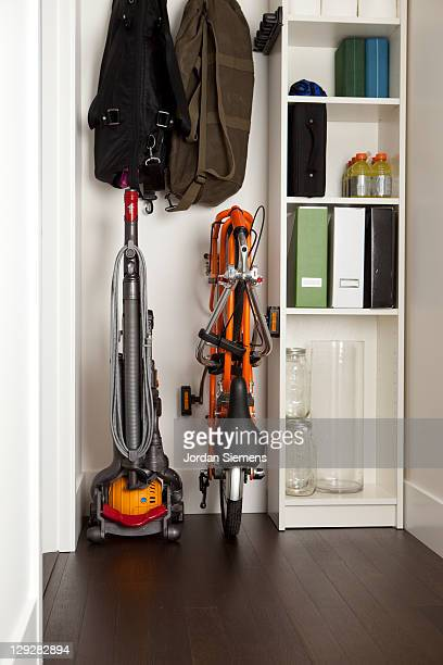 Folding bike in a small closet.