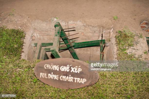 a folding chair booby trap at ben dinh, cu chi, near ho chi minh city, (saigon), vietnam - booby trap stock pictures, royalty-free photos & images