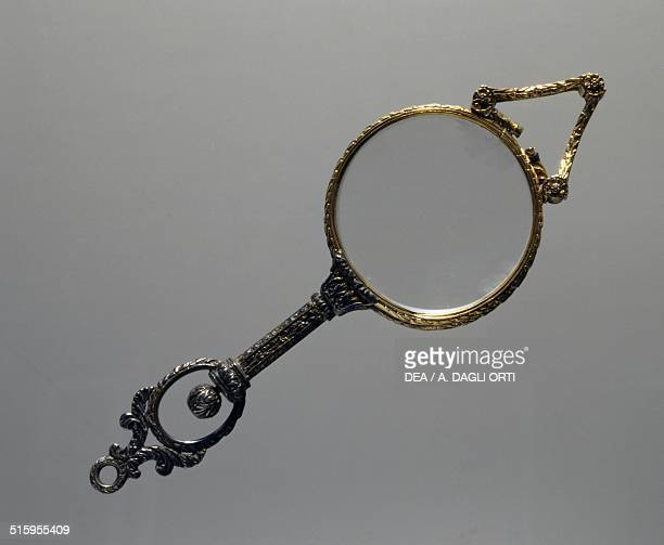 Folding eyeglasses with silver and gold spring 19th century
