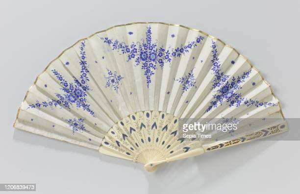 Folding fan silk top watercolorpainted porcelainblue flowers in the form of garlands and golden top edge frame made of ivory ajour folding fan...