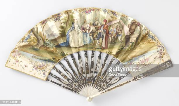 Folding fan with a leaf on which in watercolor an outdoor party with a dancing couple and bagpipe players on a motherofpearl frame with 'mŽtal en...