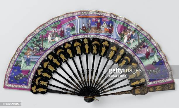 Folding fan with double leaf of fabric with three scenes on the front including a rider on a white horse on the rear flowers and birds on purple...