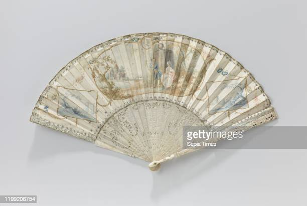 Folding fan with parchment leaf with a pastoral scene on the front and a woman under a tree on the back on a frame of carved ivory folding fan with...