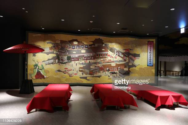 Folding screen and benches stand in a lounge inside the Solaniwa Onsen spa at Osaka Bay Tower during a media tour in Osaka, Japan, on Thursday, Feb....