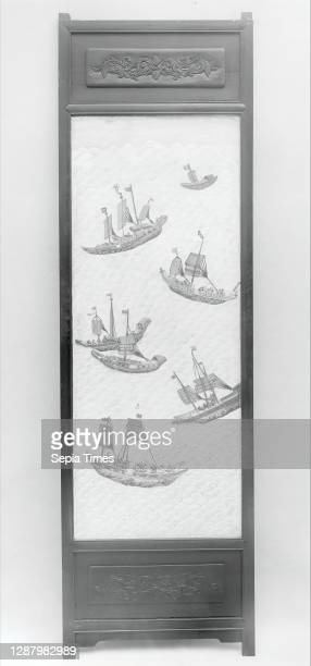 Folding screen with figures in a landscape, China, Qing dynasty , Date 19th century, Carved talc mounted on silk, 65 1/2 in. × 12 ft. × 24 in. , Each...