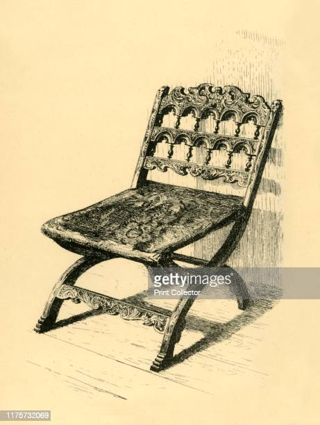FoldingChair Walnut Wood' 16th17th centuries Etching of a 'child's folding chair in carved walnut Flemish' From The South Kensington Museum a book of...