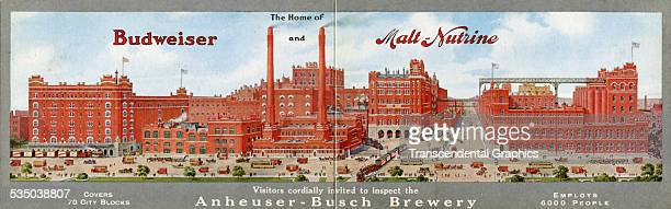 Foldout postcard with a panoramic view of the huge Budweiser beer plant comes from St Louis, Missouri around 1930.