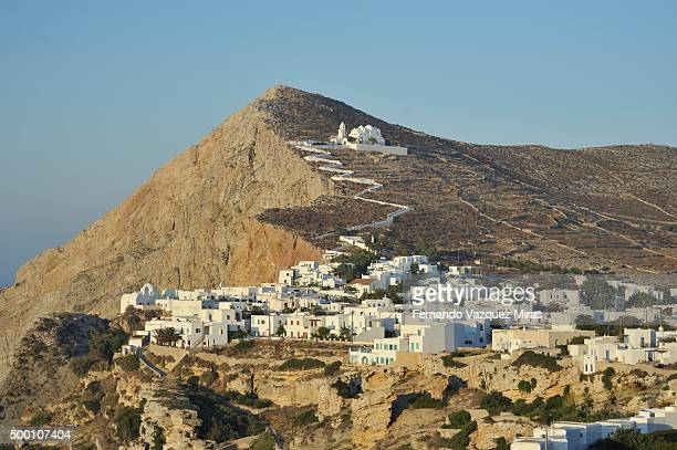 folegandros chora view at sunset - rhodes dodecanese islands stock photos and pictures