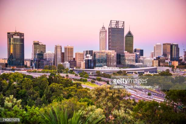 Foliage and roads near highrises, Perth, Western Australia, Australia