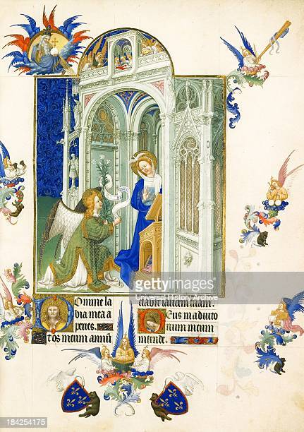 Folio from the Très Riches Heures showing part of the life of Mary The Annunciation In which an angel announces to the Virgin Mary that God has...