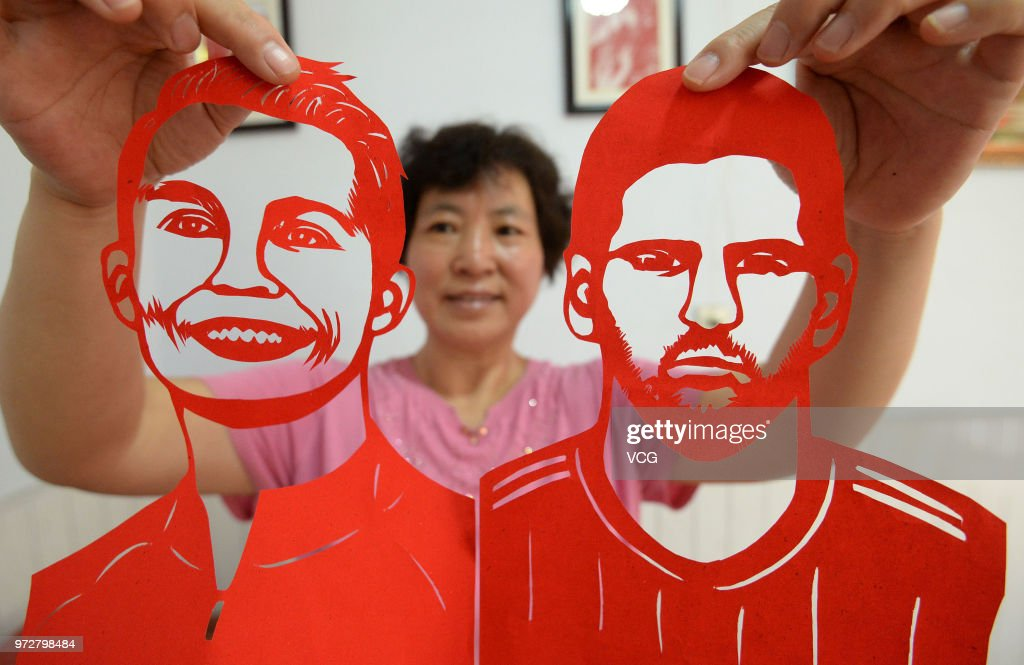Folk artist Feng Shiping makes paper cutting featuring football star Lionel Messi to welcome the 2018 FIFA World Cup on June 12, 2018 in Handan, Hebei Province of China. Chinese artist Feng Shiping used about two weeks to make paper cutting characters like Cristiano Ronaldo, Lionel Messi and Luis Alberto Suarez before the 2018 FIFA World Cup.