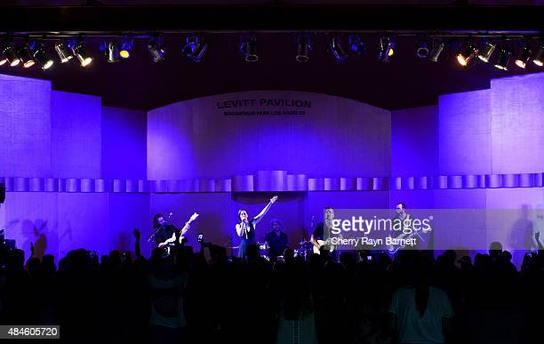 Folk band Johnnyswim performs at the Levitt Pavilion in Los Angeles California stage on July 30 2015