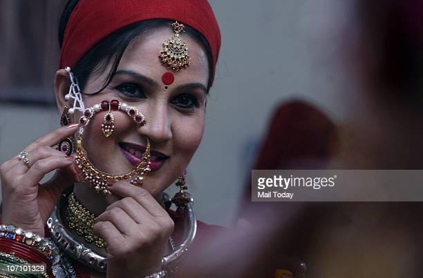 A folk dancer from Uttarakhand at the India International Trade Fair in New Delhi on November 23 2010