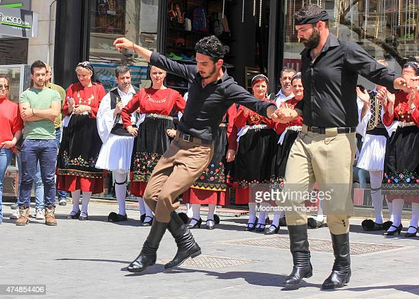folk dancing in heraklion, greece - traditional ceremony stock pictures, royalty-free photos & images