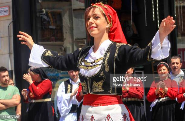 folk dancing in heraklion, greece - herakleion stock photos and pictures