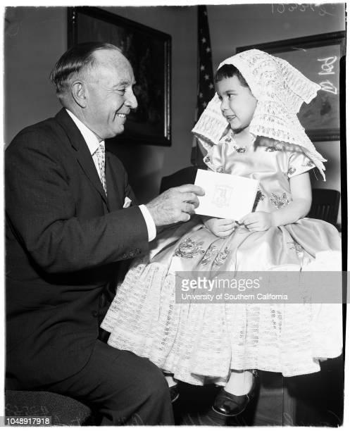 Folk festival 25 April 1958 Harold Henry Arlene Patsalis 5 yearsCaption slip reads 'Photographer Wilson Date Reporter Bernstein Assignment Folk...