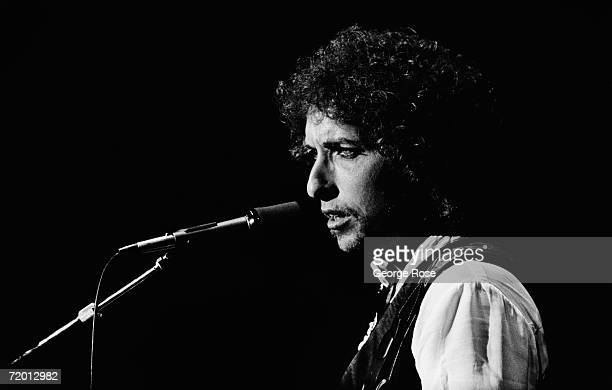 Folk icon Bob Dylan performs at 1979 San Francisco California concert at the Warfield Dylan has written a number of memorable songs including...