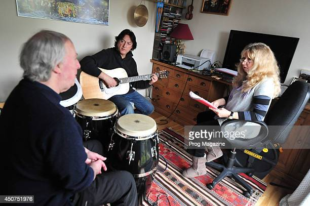 Folk musicians Gerry Conway Alan Thomson and Jacqui McShee photographed during a home rehearsal as part of Jacqui McShee's Pentangle taken on March...