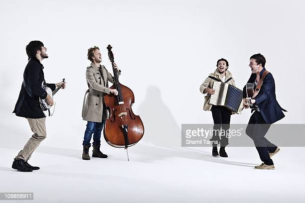 Folk rock band Mumford Sons pose for a portrait shoot in London on July 7 2010