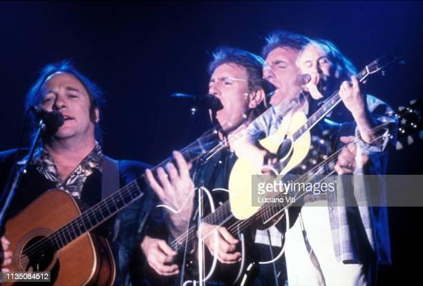 Folk rock group Crosby Stills Nash made up of David Crosby Stephen Stills and Graham Nash 1990