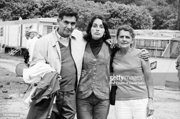 Folk singer and activist Joan Baez poses for a portrait with Albert Baez her father and Joan Bridge Baez her mother at the Newport Folk Festival in...