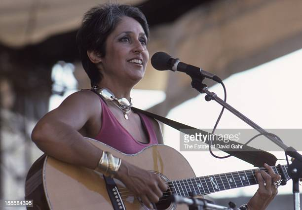 Folk singer and musician Joan Baez on stage at the Newport Folk Festival in July 1985 in Newport Rhode Island