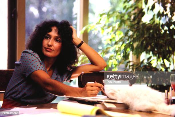 Folk Singer and Political activist Joan Baez in her home In the past she dated Bob Dylan and Steve Jobs Baez is a resident of Woodside California...