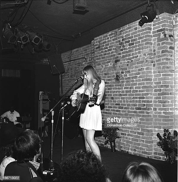 Folk Singer and songwriter Joni Mitchell performs at The Bitter End on October 23 1968 in New York City New York
