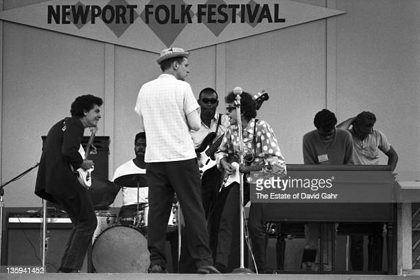 Folk singer Bob Dylan rehearses with Mike Bloomfield Sam Lay Jerome Arnold and Al Kooper before his renowned electric debut at the Newport Folk...