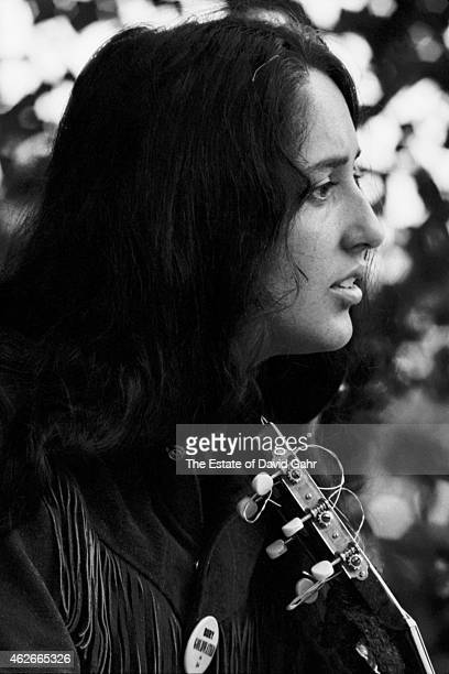 Folk singer Joan Baez at the Newport Folk Festival in July 1964 in Newport Rhode Island