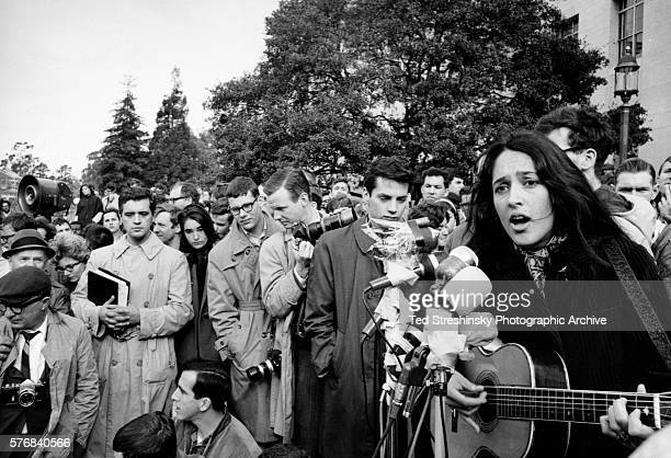 Folk singer Joan Baez performs at a rally for the Free Speech Movement at the University of California at Berkeley