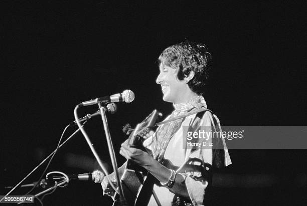 Folk singer Joan Baez performs at the free Woodstock Music and Art Fair The festival took place on Max Yasgur's dairy farm which he rented to event...